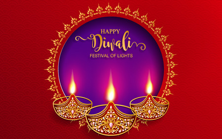 Happy Diwali festival card with gold diya patterned and crystals on paper color Background. Stock Vector - 109390299