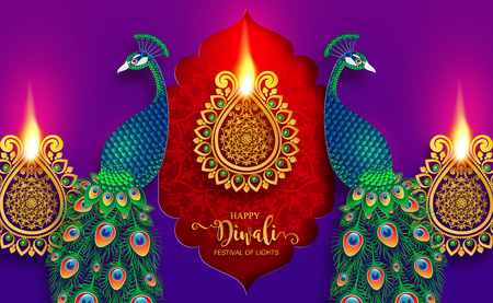 Happy Diwali festival card with gold diya patterned and crystals on paper color Background. Vettoriali