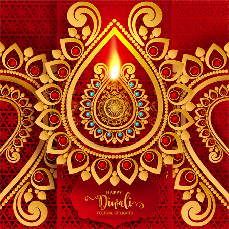 Happy Diwali festival card with gold diya patterned and crystals on paper color Background. Vetores