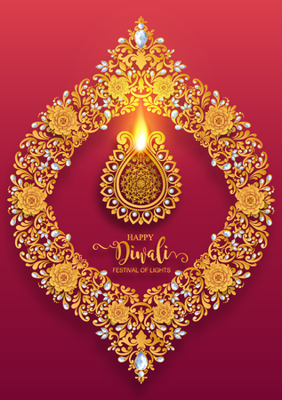 Happy Diwali festival card with gold diya patterned and crystals on paper color Background. Stock Vector - 109390379