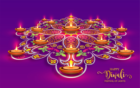 Happy Diwali festival card with gold diya patterned and crystals on paper color Background. Stock Illustratie