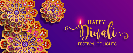 Carte de festival Happy Diwali avec diya or à motifs et cristaux sur fond de couleur de papier. Vecteurs
