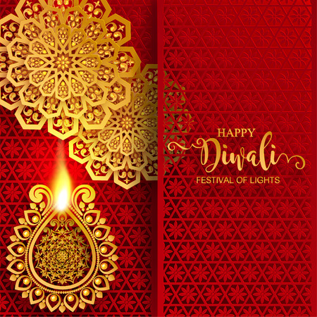 Happy Diwali festival card with gold diya patterned and crystals on paper color Background. Vectores