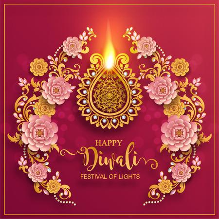 Glückliche Diwali Festivalkarte mit Golddiya gemustert und Kristallen auf Papierfarbe Hintergrund.