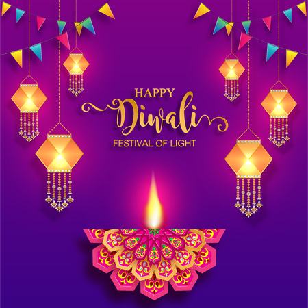 Happy Diwali festival card with gold diya patterned and crystals on paper color Background. Ilustração