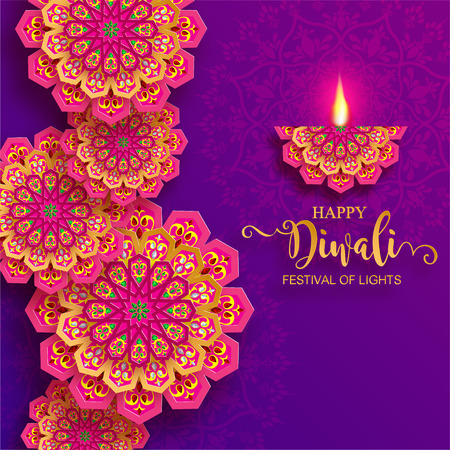 Glückliche Diwali Festivalkarte mit Golddiya gemustert und Kristallen auf Papierfarbe Hintergrund. Vektorgrafik