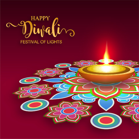 Happy Diwali festival card with gold diya patterned and crystals on paper color Background. Çizim