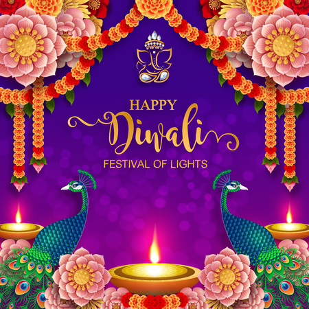 Happy Diwali festival card with gold diya patterned and crystals on paper color Background. Ilustracja
