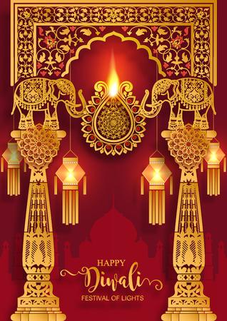 Diwali o Deepavali el festival de las luces de la india con diya de oro estampado y cristales sobre papel de color de fondo.