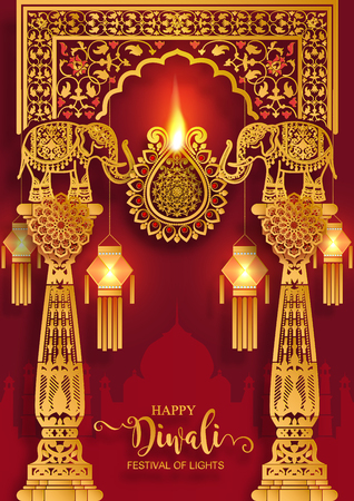 Diwali or Deepavali  the festival of lights india with gold diya patterned and crystals on paper color Background.