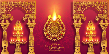 Carte de festival Happy Diwali avec diya or à motifs et cristaux sur fond de couleur de papier.