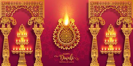 Tarjeta de feliz festival de Diwali con diya dorado estampado y cristales sobre fondo de color de papel.