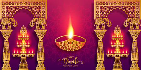Happy Diwali festival card with gold diya patterned and crystals on paper color Background. Ilustrace