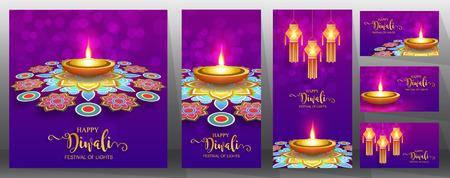 Happy Diwali festival card con oro diya fantasia e cristalli su carta colore di sfondo. Vettoriali
