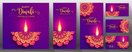 Happy Diwali festival card with gold diya patterned and crystals on paper color Background. 일러스트