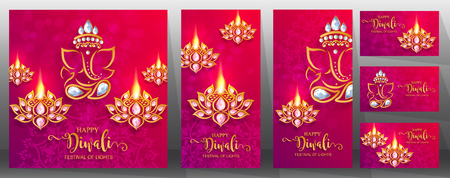 Happy Diwali festival card with gold diya patterned and crystals on paper color Background. Illustration