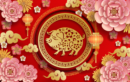 Happy chinese new year 2019 Zodiac sign with gold paper cut art and craft style on color Background.(Chinese Translation : Year of the pig) Ilustração