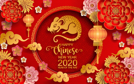 Happy chinese new year 2020 Zodiac sign with gold rat paper cut art and craft style on color Background.( Chinese Translation : Year of the rat ) Stock Vector - 113155282