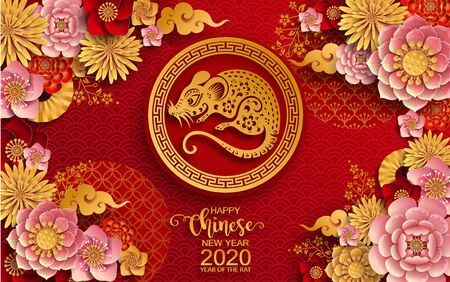 Happy chinese new year 2020 year of the rat ,paper cut rat character,flower and asian elements with craft style on background. (Chinese translation : Happy chinese new year 2020, year of rat) Vector Illustration