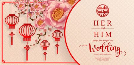 chinese oriental wedding Invitation card templates with beautiful patterned on paper color Background.