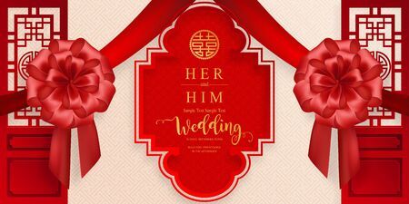 chinese oriental wedding Invitation card templates with beautiful patterned on paper color Background. Vector Illustration