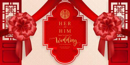 modelli di carta di invito matrimonio cinese orientale con bella fantasia su sfondo di colore carta. Vettoriali