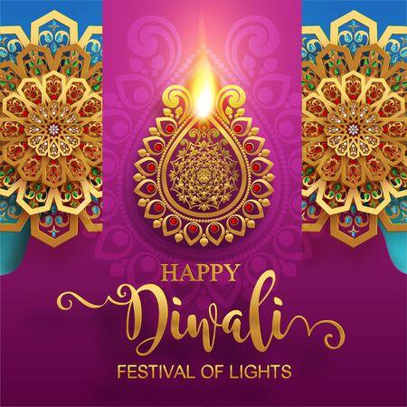 Diwali, Deepavali or Dipavali the festival of lights india with gold diya patterned and crystals on paper color Background. Vector Illustration
