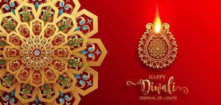 Diwali, Deepavali or Dipavali the festival of lights india with gold diya patterned and crystals on paper color Background. Illustration