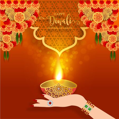 Diwali, Deepavali or Dipavali the festival of lights india with gold diya patterned and crystals on paper color Background. Ilustrace