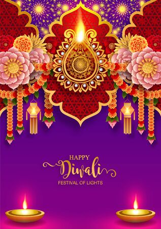 Diwali, Deepavali or Dipavali the festival of lights india with gold diya patterned and crystals on paper color Background. Illusztráció