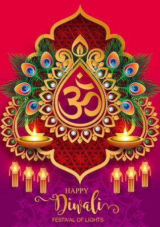 Diwali, Deepavali or Dipavali the festival of lights india with gold diya patterned and crystals on paper color Background. Ilustração