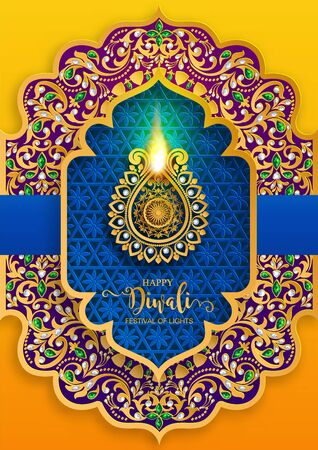 Diwali, Deepavali or Dipavali the festival of lights india with gold diya patterned and crystals on paper color Background. Reklamní fotografie - 128034326