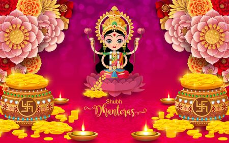 Diwali, Deepavali or Dipavali the festival of lights india with gold diya patterned and crystals on paper color Background. Vettoriali