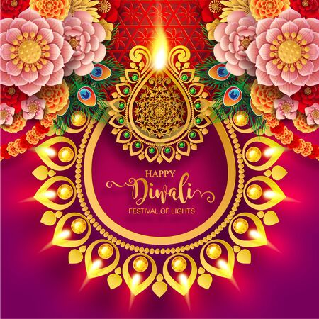 Diwali, Deepavali or Dipavali the festival of lights india with gold diya patterned and crystals on paper color Background. Ilustração