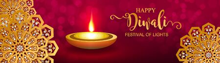 Diwali, Deepavali or Dipavali the festival of lights india with gold diya patterned and crystals on paper color Background. Reklamní fotografie - 128034423