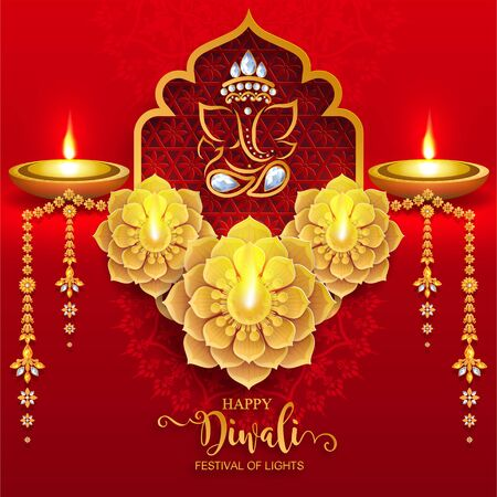 Diwali, Deepavali or Dipavali the festival of lights india with gold diya patterned and crystals on paper color Background. Reklamní fotografie - 128034421