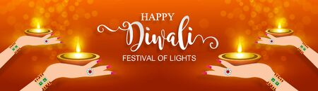 Diwali, Deepavali or Dipavali the festival of lights india with gold diya patterned and crystals on paper color Background. Banco de Imagens - 128034427