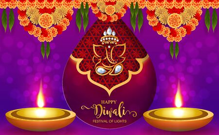 Diwali, Deepavali or Dipavali the festival of lights india with gold diya patterned and crystals on paper color Background. Illustration