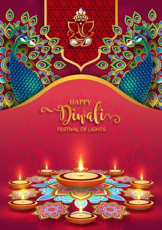 Diwali, Deepavali or Dipavali the festival of lights india with gold diya patterned and crystals on paper color Background. Reklamní fotografie - 128034469
