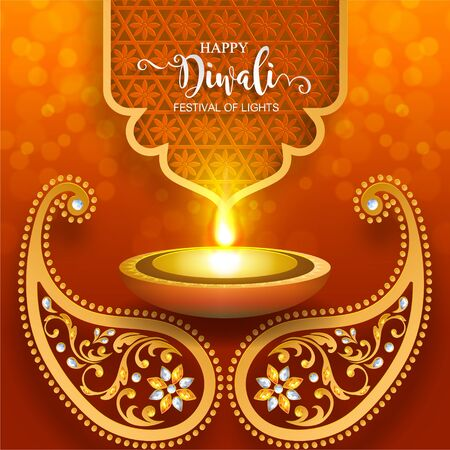 Diwali, Deepavali or Dipavali the festival of lights india with gold diya patterned and crystals on paper color Background. Banco de Imagens - 128034483