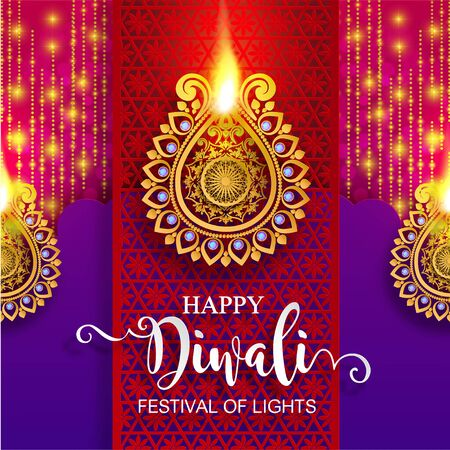 Diwali, Deepavali or Dipavali the festival of lights india with gold diya patterned and crystals on paper color Background. Banco de Imagens - 128034480