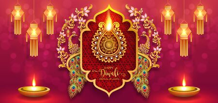 Diwali, Deepavali or Dipavali the festival of lights india with gold diya patterned and crystals on paper color Background. Banco de Imagens - 128034521