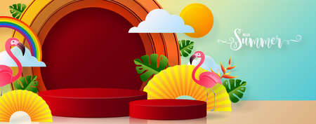 Summer time holiday vector design 3d products podium with colorful tropical flowers heliconia rostrata, leaves, nature, flamingo, sun elements paper cut with craft style on background color . Illustration
