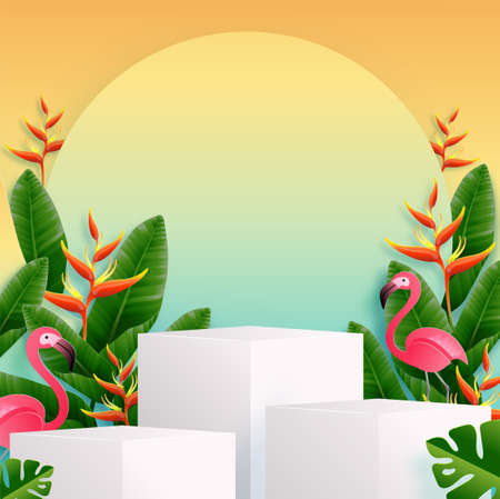 Summer time holiday vector design 3d products podium with colorful tropical flowers heliconia rostrata, leaves, nature, flamingo, sun elements paper cut with craft style on background color . Ilustrace