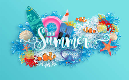 Summer time holiday vector design  with  beach, colorful under the sea, sand, coral, fish, shell, and elements paper cut with craft style on background color .