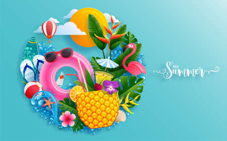 Summer time holiday vector design with beach,colorful tropical flowers heliconia rostrata,fruit,sea,nature,summer drink,under the sea,coral,flamingo,sun,sand,cocktail, paper cut style on background. Illustration