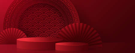 3d Podium round, square box stage podium and paper art Chinese new year,Chinese Festivals, Mid Autumn Festival, red paper cut, fan, flower and asian elements with craft style on background. Vektorové ilustrace