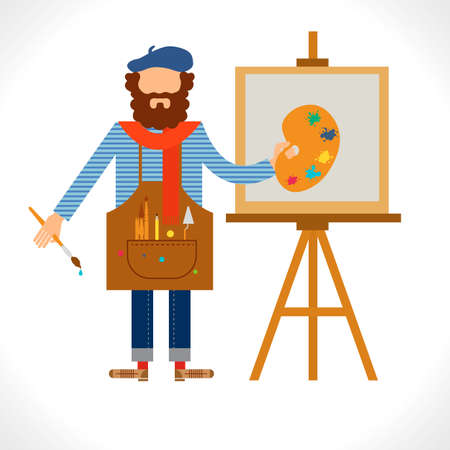 Artist painter at work easel palette flat concept vector template. Character in modern flat design style. Isolated on white background