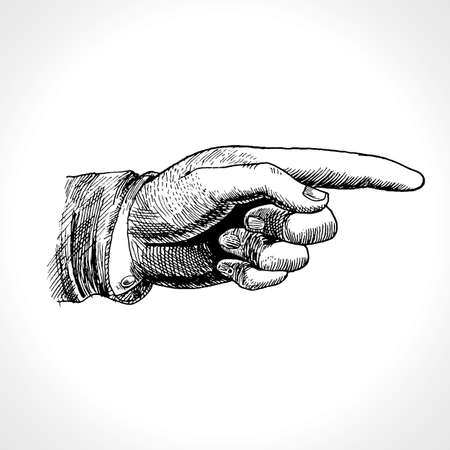 Pointing hand. Vector of hand with pointing finger, vintage gravure style