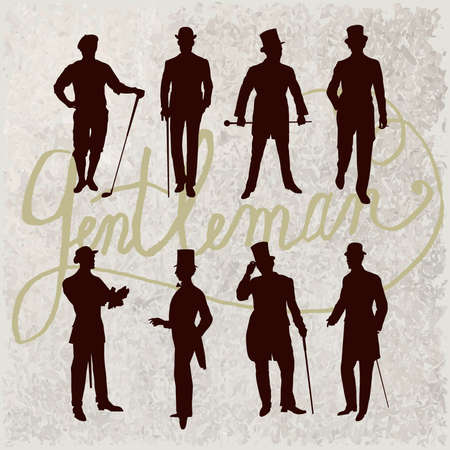 Set of male silhouettes retro1900s. Vintage Gentlemen collection